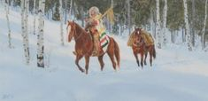 """Western Artist, Ron Stewart """"Looking for Game"""" Water Color Painting, c.1982, #839 by CulturalPatina on Etsy"""