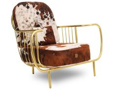Luxury Contemporary Modern Cow Leather Fur Upholstered and Gilt Brass Armchair Furniture Showroom, Luxury Furniture, Cool Furniture, Handmade Furniture, Furniture Ideas, Outdoor Furniture, Leather Club Chairs, Luxury Chairs, Wood Arm Chair