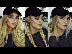 INSTAGRAM 'BADDIE' HAIR TUTORIAL // 3 BASEBALL CAP HAIRSTYLES - YouTube