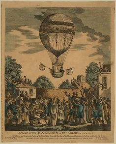 """Print shows James Sadler and Captain Paget of the British Royal Navy ascending in a balloon decorated in honor of the Prince Regent's birthday, from the Mermaid Tavern gardens, Hackney, London, August 12, 1811. Text on print: """"A view of the balloon of Mr. Sadler's ascending with him and Captain Paget of the Royal Navy from the gardens of the Mermaid Tavern at Hackney on Monday, August 12, 1811. The Balloon ascended at 3 o'clock in the afternoon and descended safe near Tilbury Fort in Essex…"""