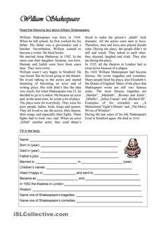 William Shakespeare worksheet - Free ESL printable worksheets made by teachers Reading Comprehension Worksheets, Reading Passages, English Grammar Worksheets, English Vocabulary, English Lessons, Learn English, English Exercises, English Reading, Reading Skills