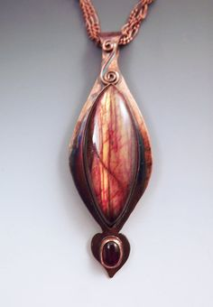 Red Labradorite Marquise and Cognac Amber Rainbow Patina by RedPaw, $169.00