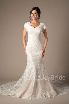 Modest lds Wedding dress with lace