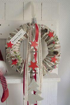 Türkranz 30 cm Weihnachtskranz, Landhaus, Natur Schild frohes fest