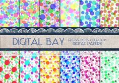 FESTIVE DOTS Digital paper pack  Instant download  by DigitalBay