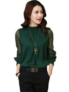 7f0a619128e Slim Stand Collar Long Sleeve Women Blouse