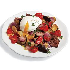 Perfect for using up those extras from last night's dinner, combine poached eggs with leftover steak and little bits of grilled or roasted veggies, don't worry if amounts don't match precisely. View Recipe: Steak Hash with Poached Eggs