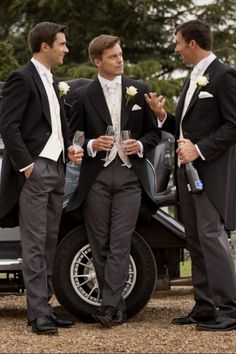 Wedding Groomsmen suits should be paid as much attention as bridesmaid dresses! We mean, they are your best friends, your brothers, the men that will see you get married even if you get cold feet! We have covered wedding attire groom related, but your groomsmen need their very own unique wedding tuxedos or suits or outfits that will make everyone know that those are the great men who will stand by your side while you go through the best day in your life and all those days to come! Groomsmen Morning Suits, Wedding Morning Suits, Groom And Groomsmen Attire, Wedding Suits, Wedding Attire, Formal Wedding, Wedding Tuxedos, Groom Suits, Tuxedo Wedding