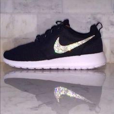 Crystal Bling Swarovski Black Nike Roshe Nike Shoes For Women a42eadd11