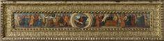 Lodovico Mazzolino | Moses and the Tablets of the Law, the Curse of the Withered Fig Tree, and the Parable of the Widow's Mite, Lodovico Mazzolino, 1525 - 1530 | Langwerpige voorstelling op een predella. In het midden Mozes en de tafelen der Wet, links de vervloeking van de verwelkte vijgenboom, en rechts de gelijkenis van het penningske van de weduwe.