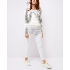 Jaeger Jaeger Jersey Woven Stripe Top ($75) ❤ liked on Polyvore featuring tops, breton stripe top, woven top, jersey top, white striped top and white top