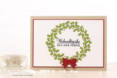 Weihnachtliche selbstgestempelte Karte mit dem Set Adventsgrün von Stampin' Up!
