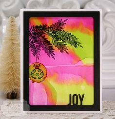 LOVE NON-TRADITIONAL CHRISTMAS COLORS! Joy Framed Card by @sharon_harnist using the Christmas Scribbles stamp set. #EssentialsbyEllen #ChristmasScribbles #ellenhutsonllc