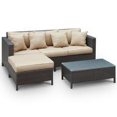 Outdoor Wicker Patio 3 Piece Sofa Set