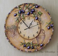 """Часы для дома ручной работы. Ярмарка Мастеров - ручная работа. Купить Часы """"Оливковая роща"""" в объеме. Handmade. Тёмно-фиолетовый"""