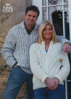 K2943 Ladies/Mens Long Sleeve Zip Up Cable Jacket/Jumper Knitting Pattern Aran (Fisherman) King Cole