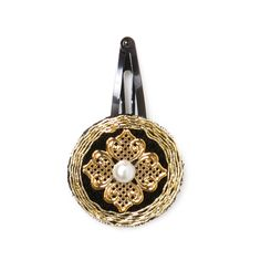 """The Eloise Clip will bring a vintage inspired glamour to any look. A pearl is surrounded by gold filigree and set on black fabric, edged with tiny gold bugle beads.  - Black fabric, gold, pearl  - 1.5"""" diameter  - Snap clip    Item # JHC60001035  Love this!   Found it on The Jewel Box by Myesha"""