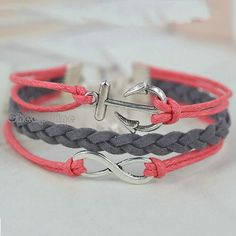 Gray Weave Korean Cashmere Silver Tone Infinity Anchor DIY Bracelet