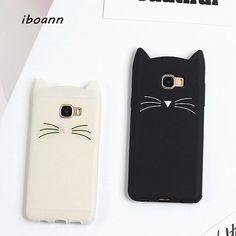 iboann cute beard cat silicone soft gel tpu case for samsung galaxy A3 A5 A7 J1 J2 J3 J5 J7 prime 2016 2017 phone cover cases #Affiliate