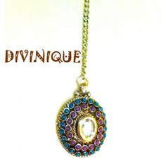 Red n green stylish kundan polki oval maang tikka - Online Shopping for Maang Tikkas by DIVINIQUE JEWELRY