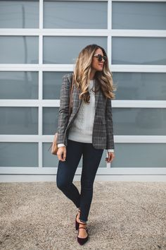 Cute sweater, jacket, and flats. I'd actually wear those shoes.