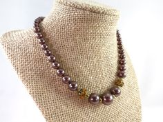 Bronze Pearl Necklace Bronze Pearl Costume by RusticWayTreasures