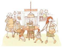 Dear Gram, Letter, Illustration of grandparents, grandma, grandpa, coffee, mom, family, baby and boy in kitchen