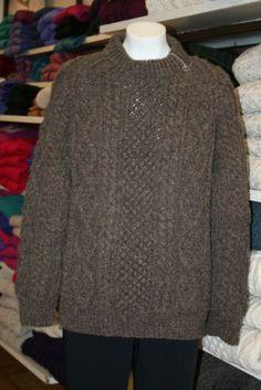 Irish Handcrafts | Unisex Traditional Handknitted Irish Sweater Ref: DSC0012. Colour: Dark Black Sheep.