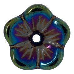 9mm blue iris buttercup czech pressed glass bead