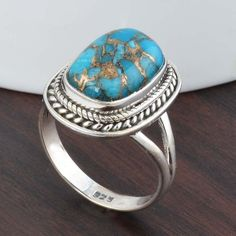 925 STERLING SILVER EXCLUSIVE BLUE COPPER TURQUOISE RING 6.03g DJR5269 #Handmade #Ring