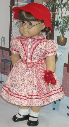 1940s 1950s Red and White  Dress and Felt Hat for 18 inch Girls like Molly, Emily