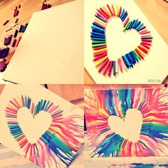 Another crayon melting arts and crafts crayon art, diy crayo Crafts For Teens, Fun Crafts, Diy And Crafts, Arts And Crafts, Heart Crayon Art, Heart Art, Diy Crayons, Melting Crayons, Crayon Crafts