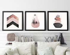 Set of 3 Prints Print Set Scandinavian Art by UrbanEpiphanyPrints Pink Bedrooms, Pink Home Decor, Pink Wall Art, Pink Room, Modern Wall Decor, Pink Walls, Scandinavian Modern, Printable Art, Printables