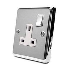 Single Socket 1 Gang Polished Chrome - Classic - White Insert Metal Rocker Switch - 13 Amp