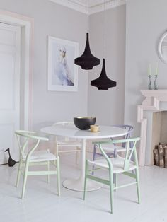 Easter-Egg hued Hans Wegner Chairs In A Serene Dining Room | via You Magazine | photo David Cleveland | House & Home