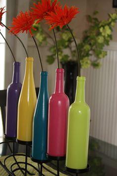 Painted Wine Bottle Vase or Candleholder. $10.00, via Etsy.