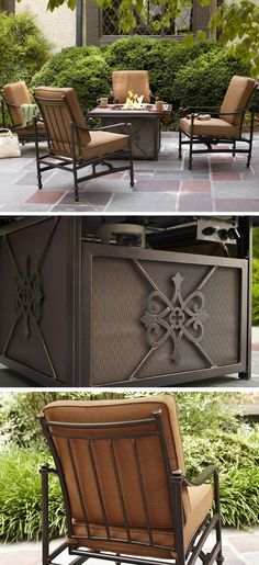 Enjoy warm nights out by the fire with this 5-piece gas fire pit patio set. This beautiful cast aluminum fire pit set includes a tile top gas fire pit and four deep seating rocking chairs with hidden motion for a seamless look.