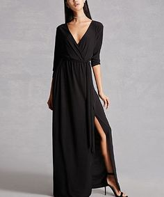 Loving this Black Wrap-Front Maxi Dress on #zulily! #zulilyfinds