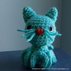 Kitty Inkie Turquoise  Kitty Inkie  Didn't I say it was a very long road trip!  Next up a Kitty Inkie. The ears were easy.  The tail took a few tries to get the sizing where I wanted it.  I was feelin