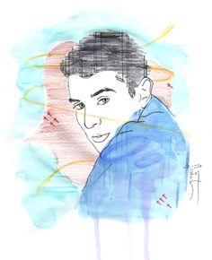 Cristian . Il·lustració amb aquarel·la , tinta i llapís . Fet per Semat .