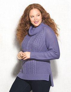 Plus Size Cable Knit Cowl Neck High-Low Sweater | dressbarn