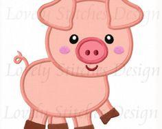 Farm pig applique machine embroidery design by FunStitch on Etsy