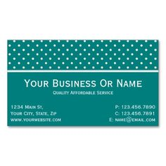 Teal Green & White Polka Dots. Name Or Business