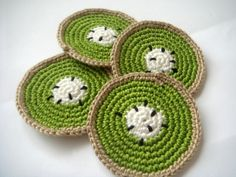 crocheted fruit coasters | Half kiwi fruit coasters (set of 4) Entertaining Eco ... | crochet