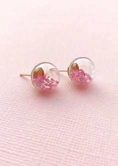 Glass Earrings, Stud Earrings, Delicate Jewelry, Pink And Gold, Crystals, Gifts, Presents, Stud Earring, Dainty Jewelry