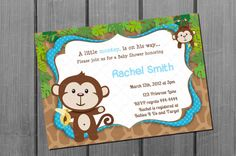 Monkey Boy Baby Shower Invitation Card by NorthernDesigns on Etsy, $9.00