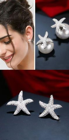 Lovely Starfish Amphibious Pearl Silver Crystal Diamond-bordered Women's Earring Studs is so cute ! #earring #pearl #starfish