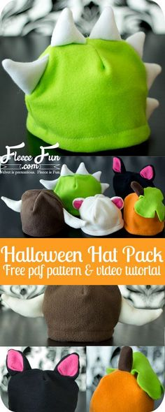Halloween Hat Pack tutorial and pattern.  These free fleece animal hat patterns have something for everyone!  The variations includes a dragon/ dinosaur hat, Viking hat, bear ears, cat ears, pumpkin, and apple. Comes in sizes Baby to adult. Perfect for Ha