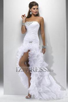 Trumpet/Mermaid Strapless Asymmetrical Chiffon Prom Dress