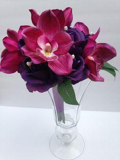 FUSCHIA Bouquet -Fuchsia-Wedding Flowers- Bridal Bouquet -Silk Bouquet - Garden Wedding- Wedding Bouquet- Purple Bouquet- Bridesmaid Flowers